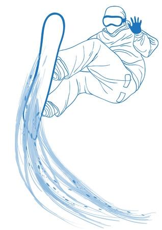Illustrazione vettoriale di blu silhouette di snowboarder saltando