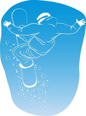 Vector illustration of snowboard freerider flying on a blue background   Vector
