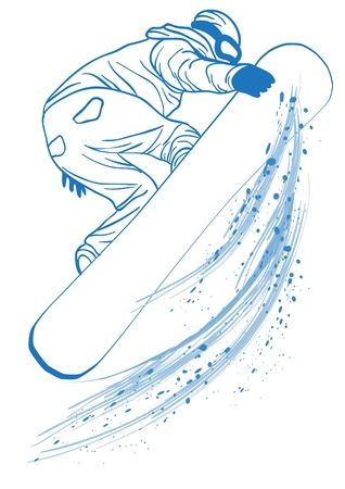 snowboarder jumping: Vector illustration of blue outline of   athlete touching her snowboard
