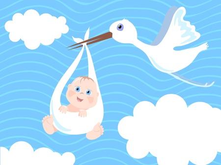 baby clip art: Baby boy birth Announcement, vector illustration Illustration