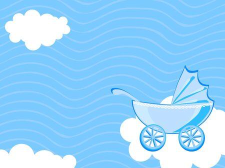 cochecito de bebe: Ilustraci�n vectorial de transporte del beb� en el fondo del cielo nublado