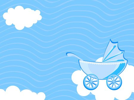 pram: Vector illustration of baby carriage on the background of cloudy sky