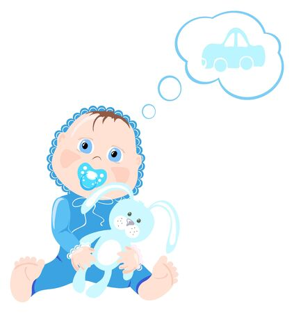 Vector illustration of baby holding bunny and thinking about car Vector