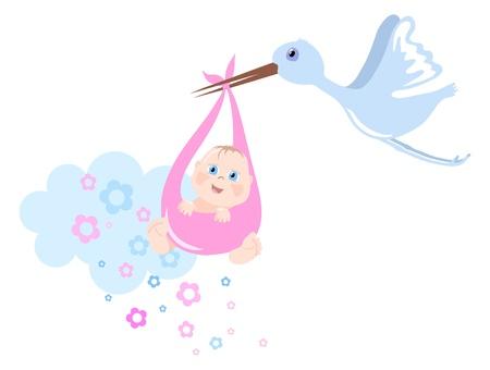 Cigogne apporte baby, illustration vectorielle