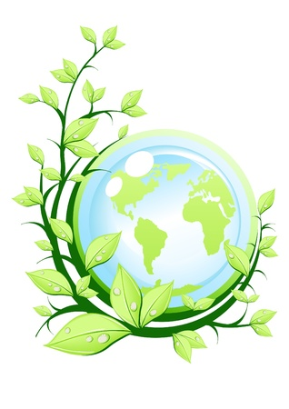 Vector illustration of green earth with plant