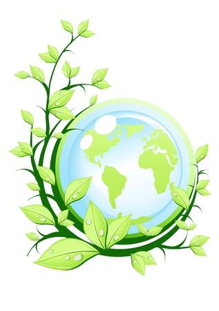 Vectorillustratie van groene aarde met plant