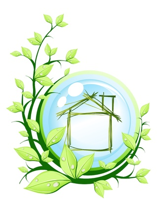 Vector illustration of green house into blue ball with plant