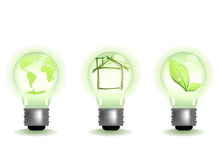 Vector illustration of different green illuminates Vector