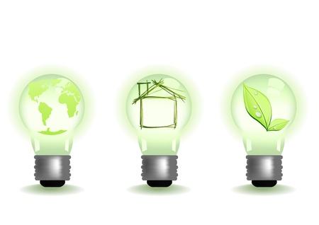 metal light bulb icon: Vector illustration of different green illuminates Illustration