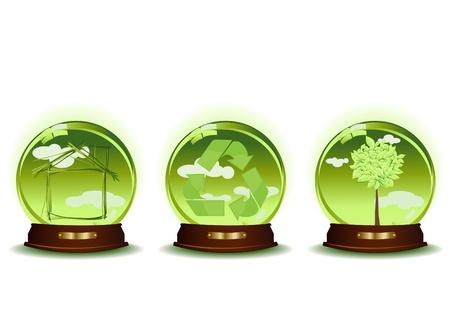 canta: Illustrazione vettoriale di tre sfere verdi con casa, riciclo, albero