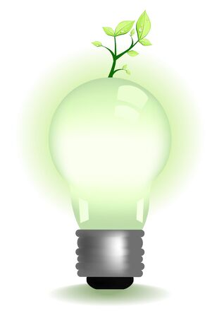 metal light bulb icon: Vector illustration of illuminate with a seedling growing Illustration