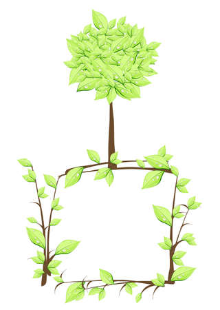 Vector illustration of tree over plan in form  Vector