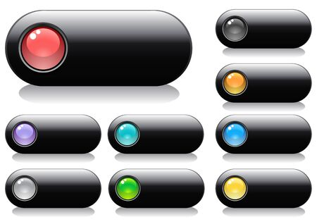 shiny buttons: Glossy buttons for web design with spheres, vector illustration Illustration