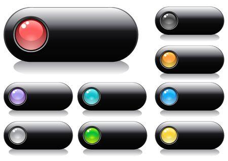 buttons: Lucido pulsanti per il web design con sfere, illustrazione vettoriale