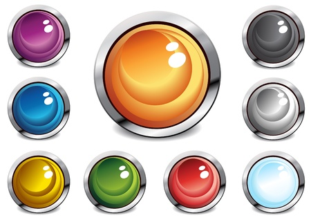 Collection of glossy color buttons, vector illustration Vector