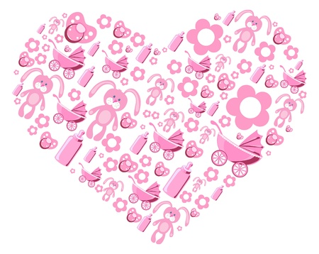 soother: Vector illustration of pink creative heart
