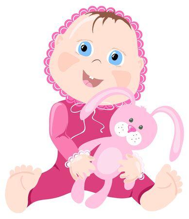 bebe azul: Ilustraci�n vectorial de beb� con bunny sobre un fondo blanco
