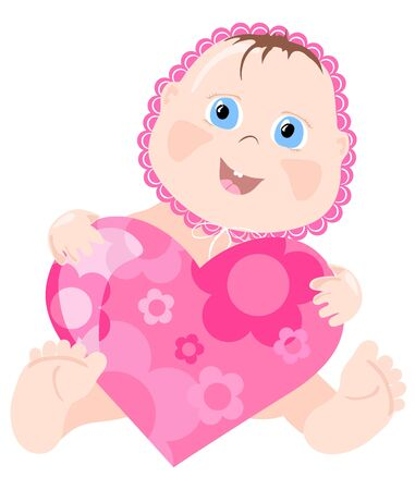 Vector illustration of lovely infant with pink heart Stock Vector - 9428046
