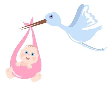 Vector illustration of stork bringing newborn child