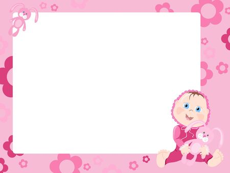 new born baby girl: Pink frame with baby, vector illustration Illustration