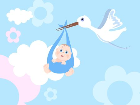 Vector illustration of stork with infant Vector