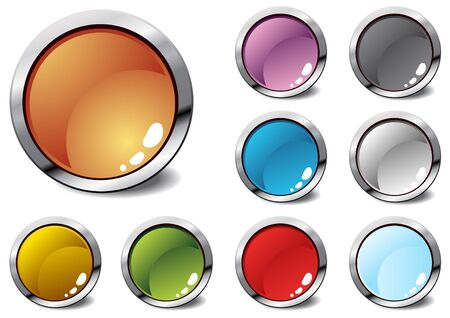 red metallic: Several colorful icons, vector illustration