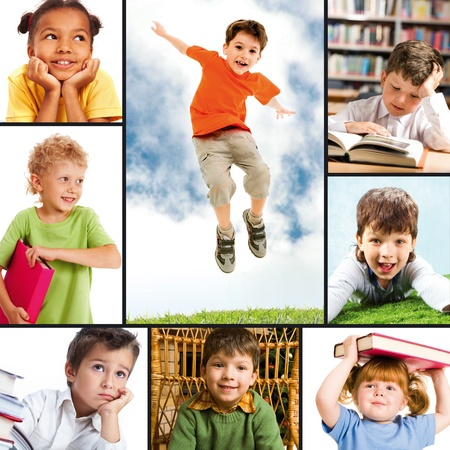 collage people: Collage of portraits of different schoolkids  Stock Photo