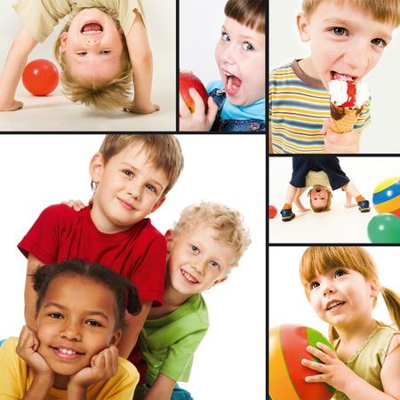 play boy: Collage of children joyful events Stock Photo