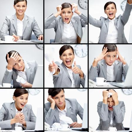 actitud positiva: Collage de empresaria en diferentes situaciones durante la jornada de trabajo