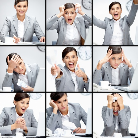 Collage of businesswoman in different situations during working day
