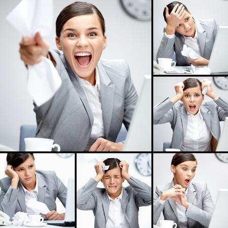 jornada de trabajo: Collage de empresaria en diferentes situaciones durante la jornada de trabajo
