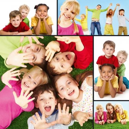 enfants: Collage de joyeuses enfants pendant leurs vacances.
