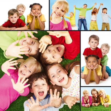 child education: Collage of joyful children during their vacation  Stock Photo