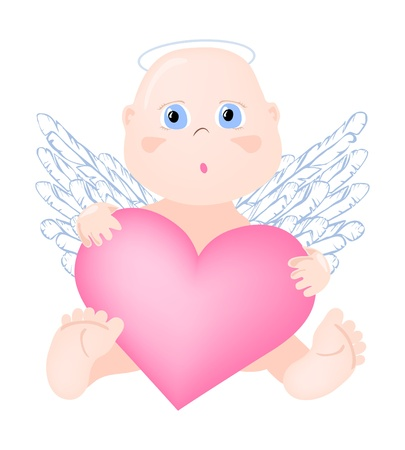 illustration of angel with big heart    Vector