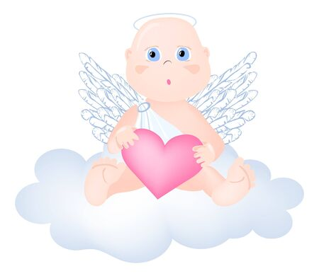 illustration of adorable angel sitting on the cloud  Vector