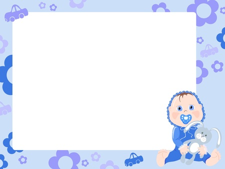 Blue frame for boy. Vector