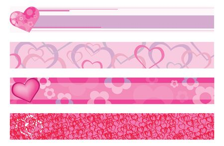 illustration of banners with hearts  Stock Vector - 9461879