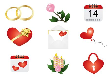 illustration of Valentine Day symbols Vector