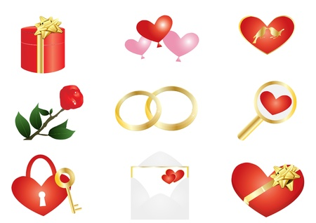 illustration of things with red heart Vector