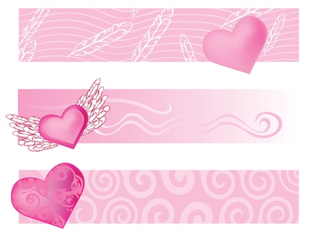 Pink set of banners background Vector