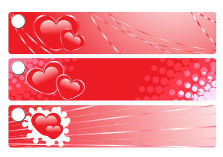 illustration of creative red banners with hearts  Vector