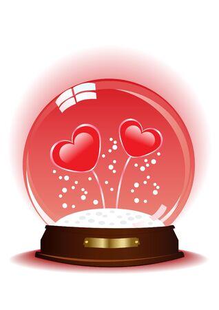 Ilustración de dos corazones dentro de la esfera mágica