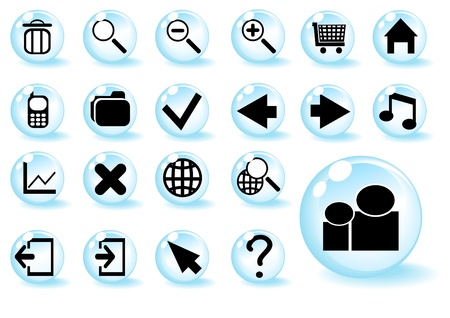 Collection of different blue web buttons Stock Vector - 9461894