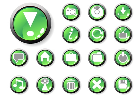 illustration of green icons for web applications Vector