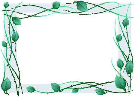 illustration of green frame made of leaves  Stock Vector - 9461874