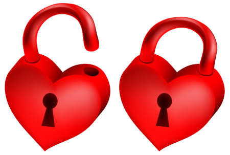 illustration of two red locks in form of heart  Vector