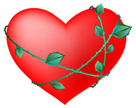 barbed wire: illustration of red heart with  barbed wire