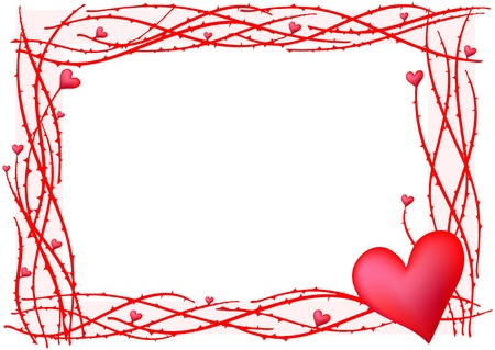 saint valentines day: illustration of red valentine frame with heart