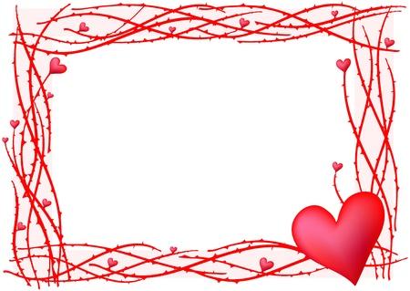 saint valentines: illustrazione del telaio rosso San Valentino con cuore  Vettoriali