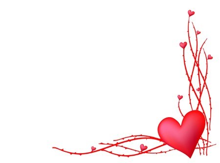 Heart with thorns in corner  Stock Vector - 9461870